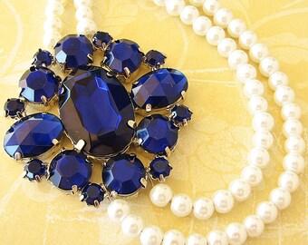 Blue Wedding Jewelry Navy Blue Bridal Necklace Bridal Jewelry Cobalt Blue Necklace Statement Bridal Rhinestone Necklace Double Strand Gift