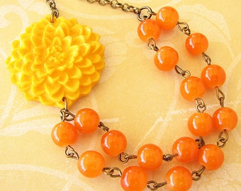 Beaded Necklace Yellow Necklace Multi Strand Necklace Flower Necklace Orange Jewelry Orange Necklace Flower Girl Gift