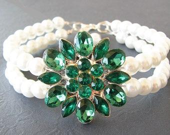 Bridesmaid Jewelry Set Green Emerald Rhinestone Bracelet Pearl Bracelet Bridal Jewelry Flower Bracelet Gift Set