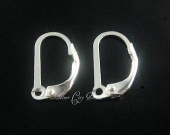Sterling Silver Lever Back Earwires, 2 PCs-  10.1mm x 17.5mm ,  2.7mm open ring