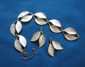 Vintage Exquisite Guilloche Enamel Sterling Silver Leaf Bracelet and Earrings by David Anderson of Norway