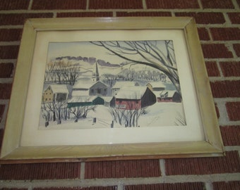 Vintage Mid Century Signed Original Watercolor Painting of Peaceful Winter Village Scene