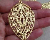 10 pc - Large Boho - Gold -  Antique style filigree stamping lace pendant drop