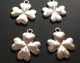 10 - Silver plated four leaf clover lucky charm pendant  - lead and nickel free