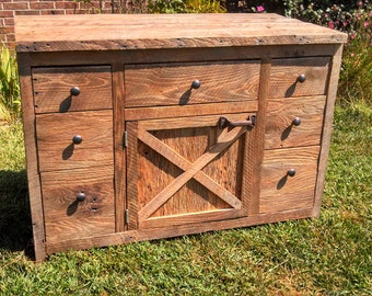 YOUR Custom Made Rustic Barn Wood Vanity or Cabinet with Doors and Drawers FREE SHIPPING - BWV1175CD