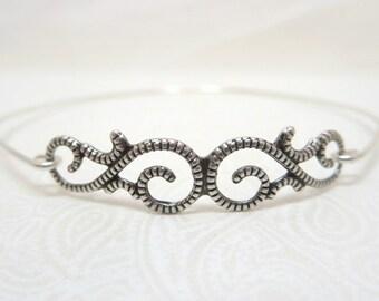 Silver bangle bracelet, Bridal bracelet, Antique silver bangle bracelet, Sterling silver bracelet, Filigree bangle, Vintage inspired bangle