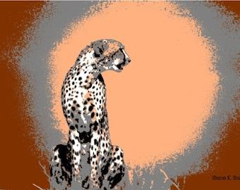 Cheetah Art, Big Cat, Africa Safari, Abstract Realism, Wildlife, Peach Burgundy, Animal Wall Hanging, Home Decor, Giclee Print, 8 x 10