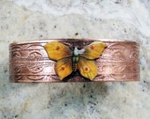Etched Copper Cuff Yellow Butterfly
