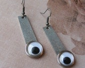 Googly Eye Earrings-silver, 2 1/2 inches or 6.5 cm