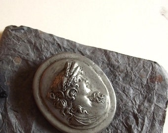 Pewter Look Cameo / Greek Goddess / The Ducklers