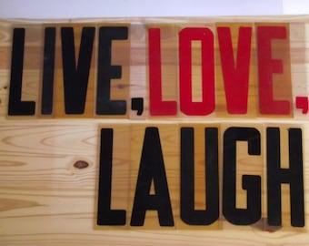Large Sign Letters / Vintage 80s Outdoor Plastic Letters /  Live Love Laugh