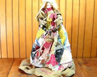 Bunny Doll, Burlap And Rags, Farmhouse Decor