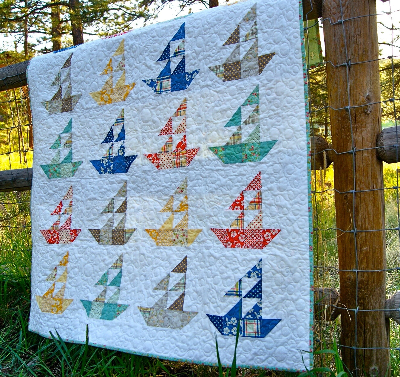 Quilt Baby Lap Handmade Seaside Sailboats Riley Blake Summer