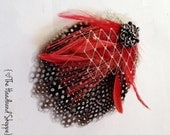 Red and Black Peacock and Polkadots Feather Hairclip with Birdcage Veiling - NELLIE