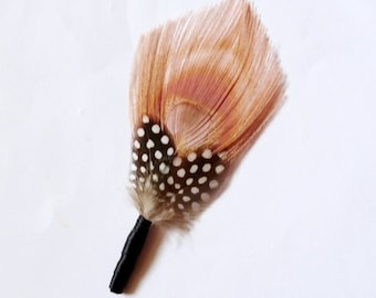 Maggie - Dusty Rose Peacock and Polkadot Boutonniere Lapel Pin