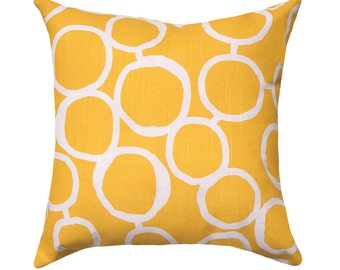 Yellow STUFFED Pillow,  16 18 20 Throw Pillows, Corn Yellow White Throw Pillow, Playroom Accent Pillow, Modern Freehand Yellow - Free Ship