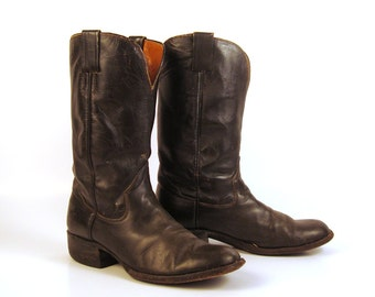 Cowboy Boots Vintage 1980s the Sanders Leather Dark Brown Boots Men's size 9