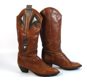 Brown Leather Boots Vintage 1980s women's size 37