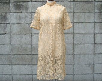 Lace Jacket Dress 1960s Tan