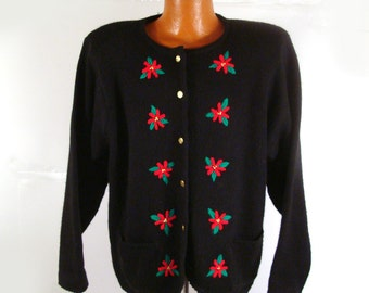 Ugly Christmas Sweater Vintage Poinsettias Cardigan Holiday Tacky