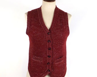 Knit Sweater Vest Vintage 1970s Metallic Lurex