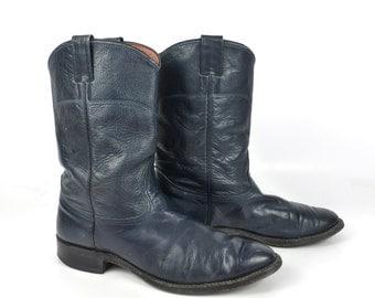 Cowboy Boots Vintage 1980s Nocona Distressed Blue Roper Leather Flat Men's size 9 1/2