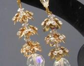 Vintage Earrings . Rhinestone Crystal Flower Long Dangle Earrings jewelry