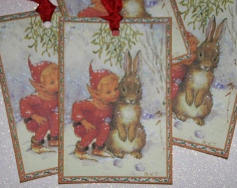 Christmas Tags Elf and Bunny, Holiday Tags, Vintage Christmas Tags, Christmas Gift Tags