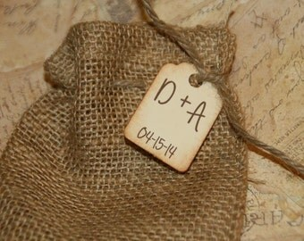 Burlap Bags Wedding Favor Bags with Custom Tag, Burlap Wedding, Rustic Wedding Favors Bags, Initial and Date Wedding  Bags 4 x 6 100