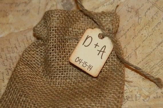 Favor Bags with Custom Tag, Burlap Wedding, Rustic Wedding Favors Bags ...