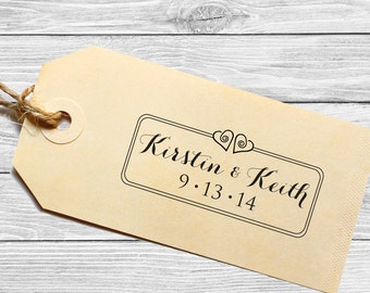 Custom wedding favor stamp or save the date with 2 hearts!--146TS