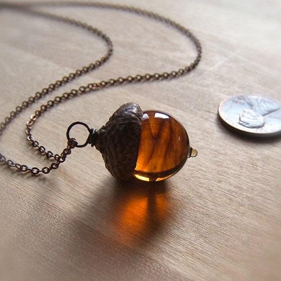 Glass Acorn Necklace in Dark Streaky Transparent Topaz by Bullseyebeads