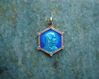 Antique French Vintage Sterling Silver Blue Guilloche Enamel Holy Virgin Mother Mary Our Lady of Lourdes Religious Medal Necklace Pendant