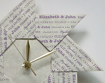 1st Anniversary Origami Gift Clock - With Lavender Type - Large