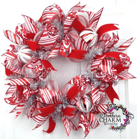 Deco Mesh Christmas Wreath Slim Screen Door Or Wall Red White