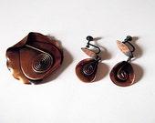 Modernist Morley-Crimi Copper Brooch, Earrings, Demi-Parure, Canadian