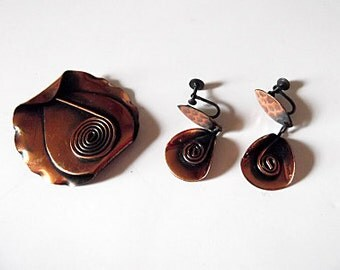 Modernist Morley-Crimi Copper Brooch, Earrings, Demi-Parure, Canadian