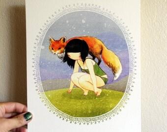 8x10 Art - Fox Girl - archival fine art print - Wild Child Spirit Animal