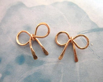 Shop Sale.. 1 pc, Rose Gold BOW Pendant Charm, Ribbon Bow Knot, 14k Gold Fill, Petite Small, 12x11.5 mm, designer bridal bridesmaids art rg