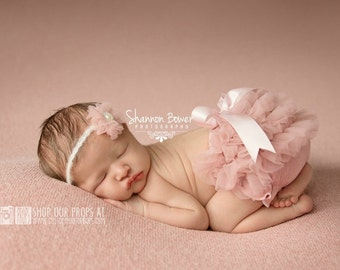 RTS Diaper Cover & Headband Newborn Girl Photography Props, Old Rose Pink Chiffon Outfit SET, Ruffled Diaper Cover Baby Girl, Mauve Pink