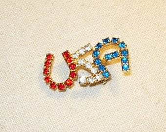 Vintage Red White & Blue Rhinestone USA Pin