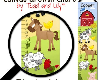 Canvas GROWTH CHART  Farm Animals Cow Horse Sheep Pig Rooster Kids Bedroom Baby Nursery Wall Art GC043