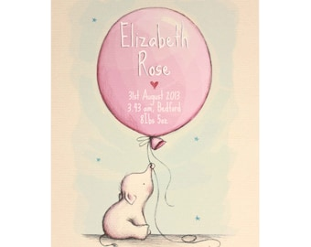 New baby gift, personalised baby name art, nursery decor, baby name print, nursery art, elephant, balloon, christening gift, nursery prints