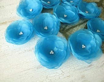 Water Lilies- Handmade organza sew on flower appliques, floral supplies, fabric appliques, organza flowers for crafts (5 pcs)- TURQUOISE