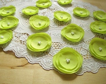 Fabric appliques, sew on flower embellishments, fabric flowers for crafts, handmade bouquet supplies (15 pcs)- CHARTREUSE GREEN POPPIES