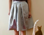 50% Off Sample Sale Silver Skirt, Shiny Cotton Satin Skirt with Pleats, Party Wedding Date Skirt