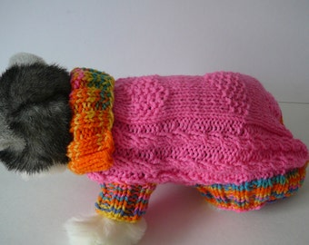 READY TO SHIP         Handmade Knit Dog Sweater/Hot Pink             Size Petite