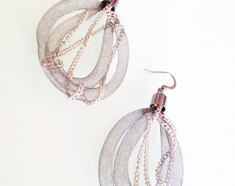 Earrings Gunmetal Tube with small silver chains