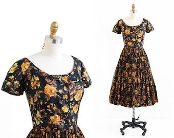 vintage 1950s dress / 50s dress / Marigold Roses Print Silk Ballerina Dress
