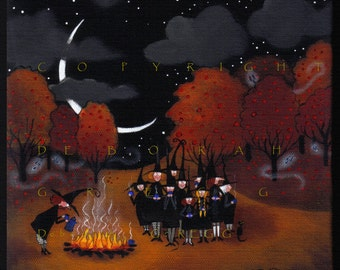 Fright Night Clumping a small Halloween Witch Apple orchard PRINT BY Deborah Gregg